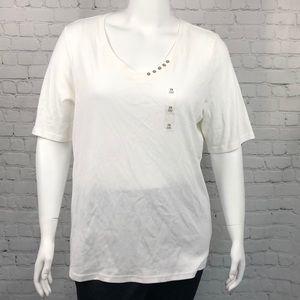 Karen Scott White V Neck Elbow Sleeve Top Size 2X